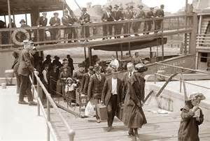 Migrants arriving at Ellis Island off New York City.